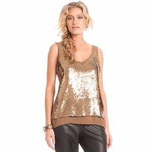 Trina Turk Gold Sequins Silk Underlay Tank Top
